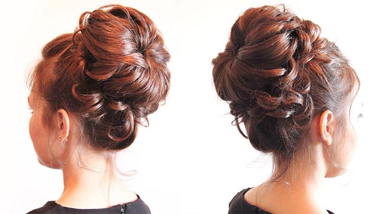 Причёска с бубликом для волос